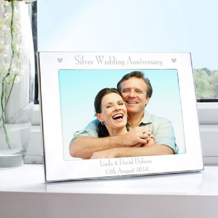 Personalised Silver Wedding Anniversary Landscape 5x7 Photo Frame